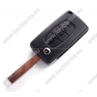 Peugeot 3 button flip key with battery place and HU-HCA.P blade